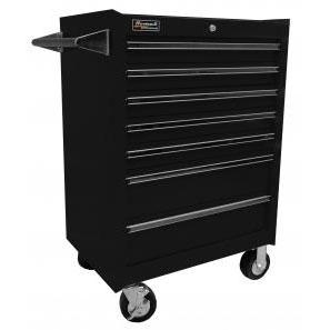 27 Inch 7 Drawer Professional Roller Cabinet Black Homak