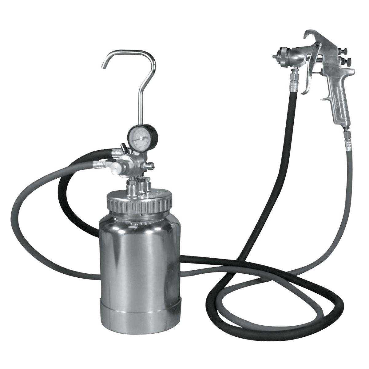 Pressure Paint Gun Pot : Quart pressure pot w silver gun and hose