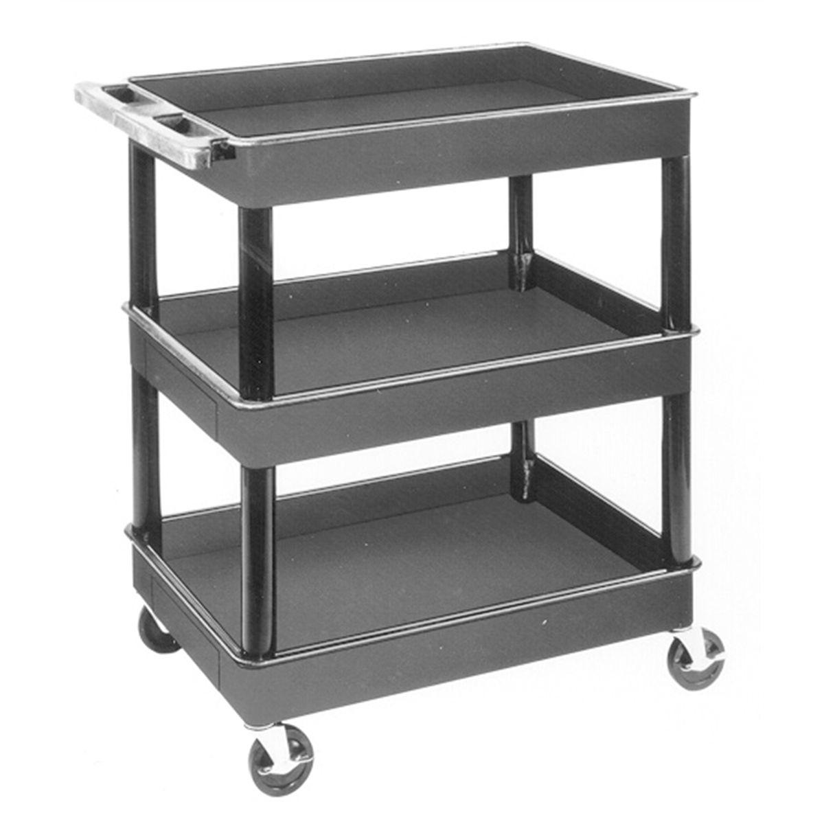 luxor tc111 3 shelf plastic service cart. Black Bedroom Furniture Sets. Home Design Ideas