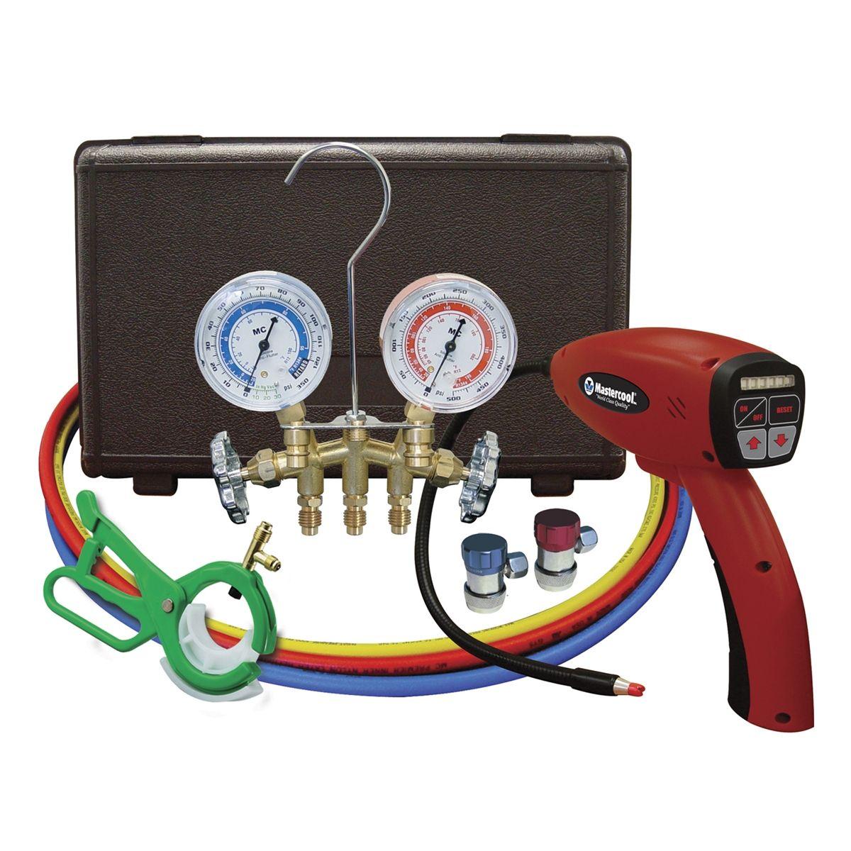 Electronic Auto Gauge Set : Mastercool electronic leak detector with brass gauge set