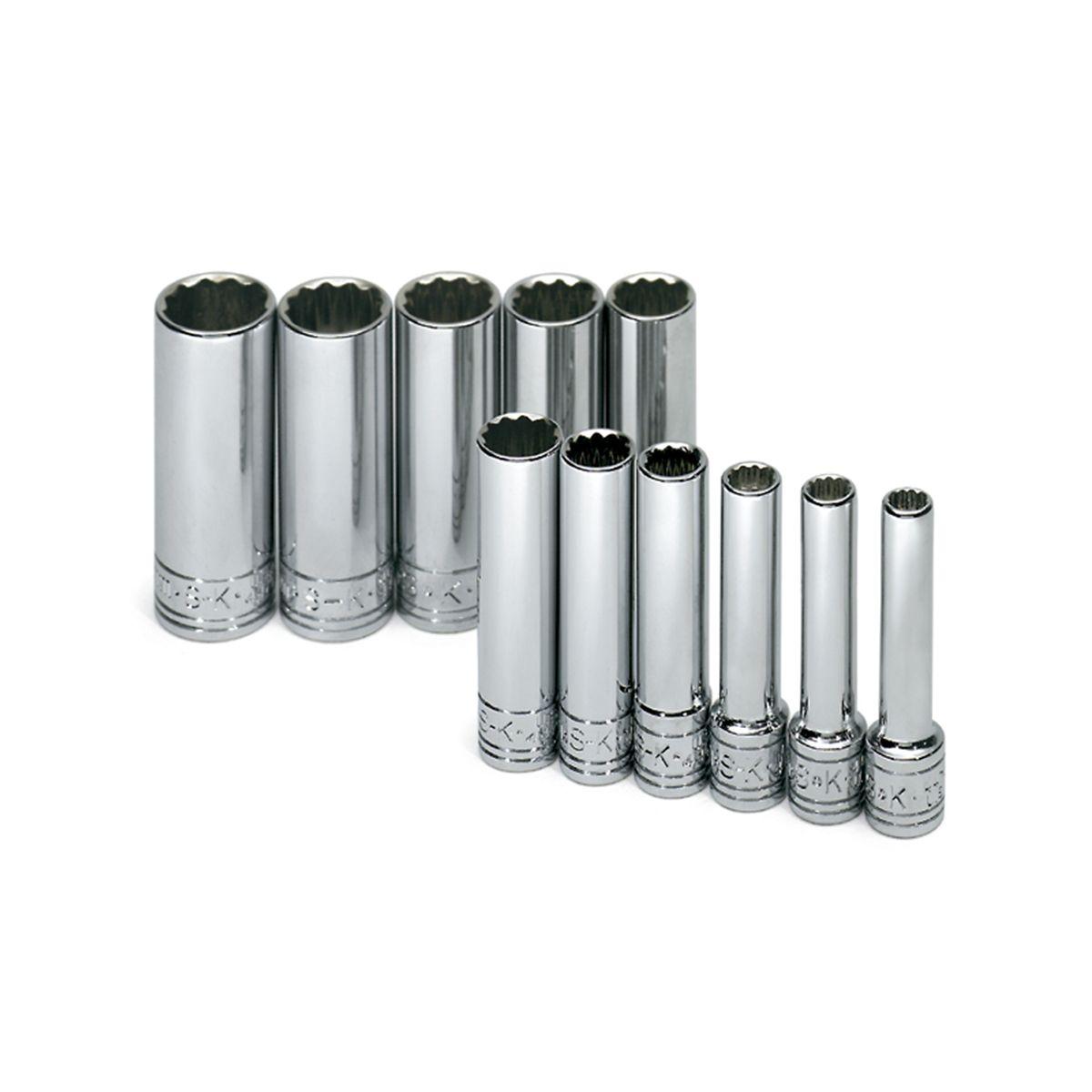 SK Hand Tool 91824 1//4-Inch Drive Semi-Deep Socket Set 24-Piece