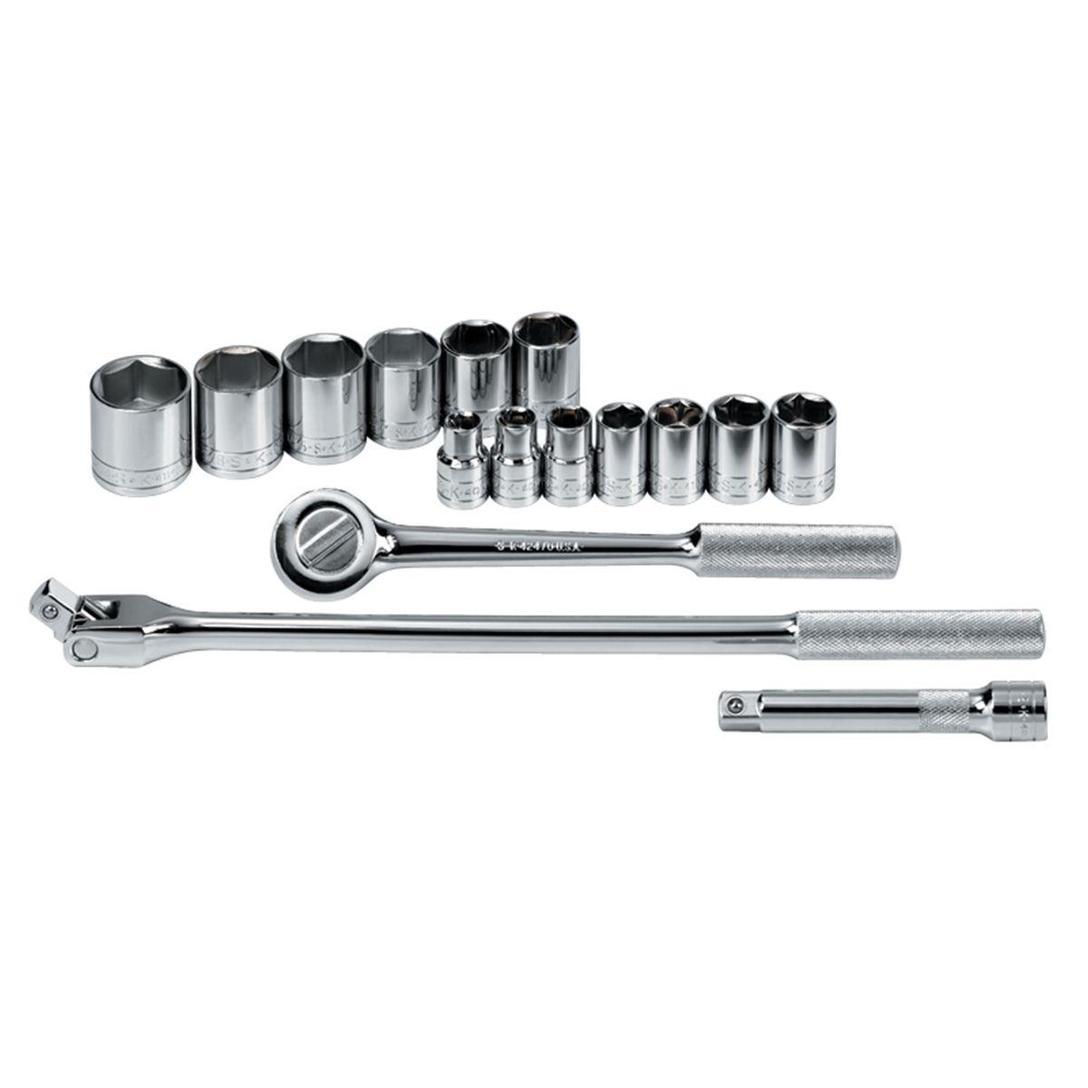 "SK Hand Tools 4913 13 Piece 1//4/"" Drive 6 Point Standard Fractional Socket Set"
