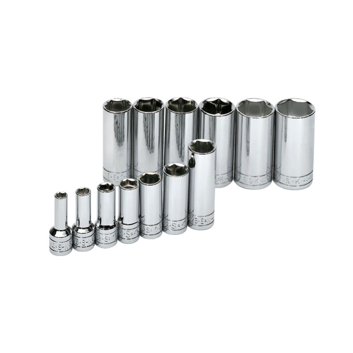"SK Hand Tools 1312 13 Piece 1//4/"" Drive 6 Point Deep Metric Socket Set"