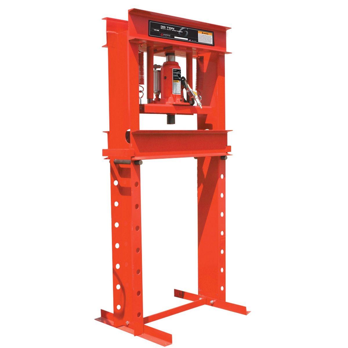 "12 Ton Shop Press UPGRADE adds AIR HYDRAULIC  SPEED STEEL 5/"" X 7/"" X-Bar Plates"