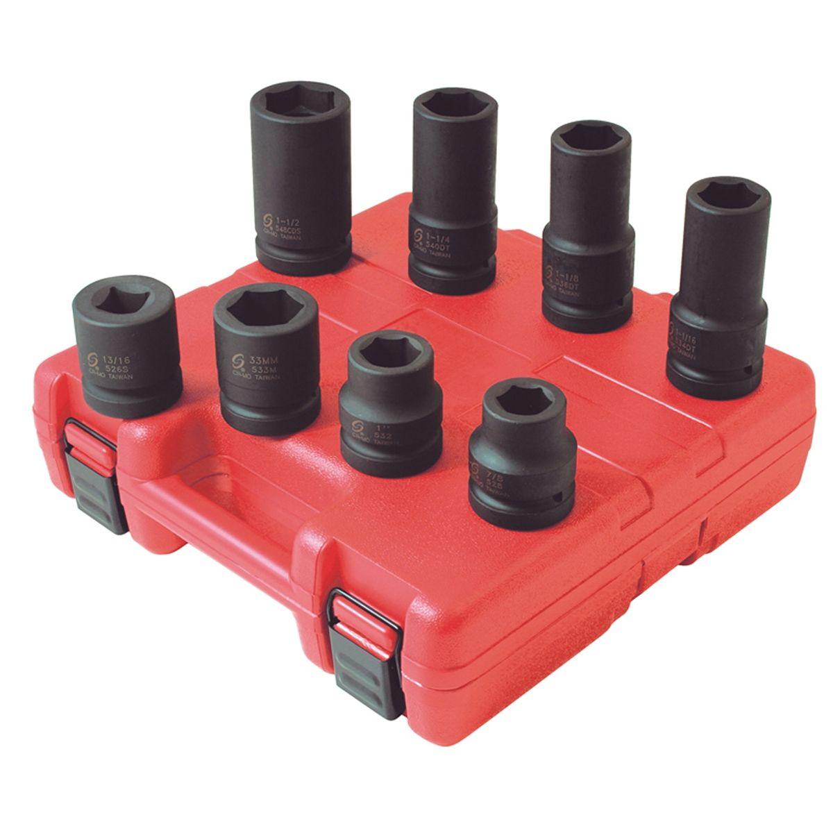 "Sunex 8pc 1/"" Metric SAE Wheel Service Impact Sockets Set Tools Standard MM 5688"