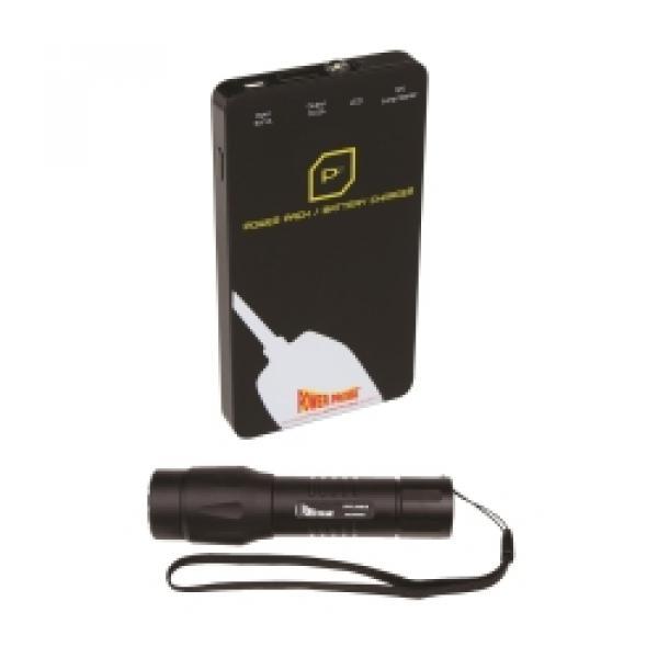 Black Flashlight and Black Power Pack Jump Starter