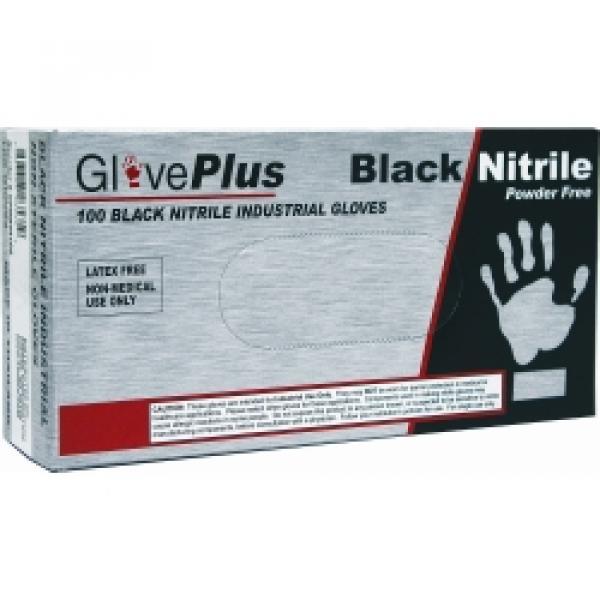 M GlovePlus P/F, Textured Black Nitrile Gloves