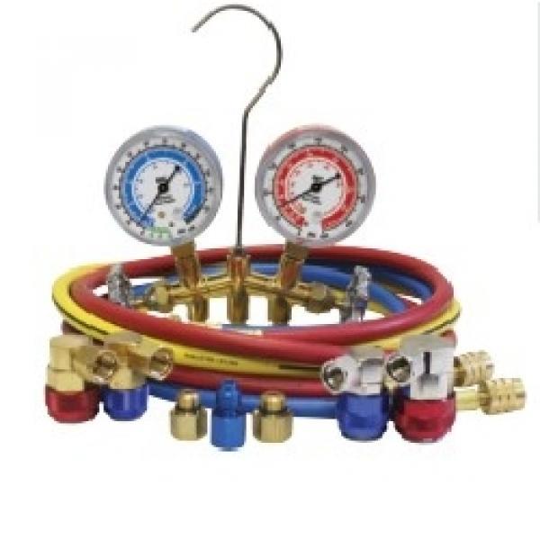 134A / 1234YF Dual brass gauge set