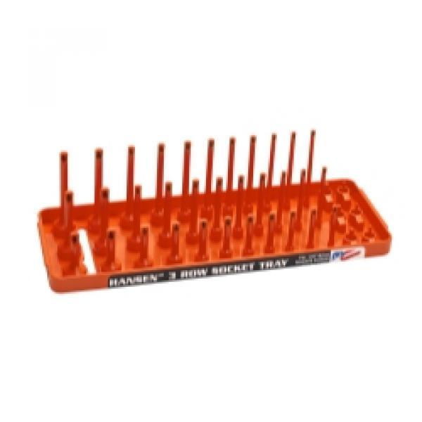 "1/4"" SAE 3-Row Socket Tray - Orange"