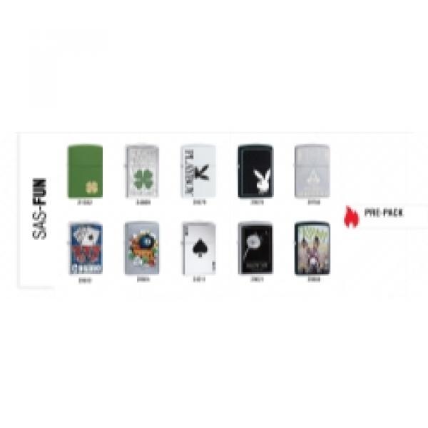 Zippo 10-Piece Lighter Assort 4-Lea