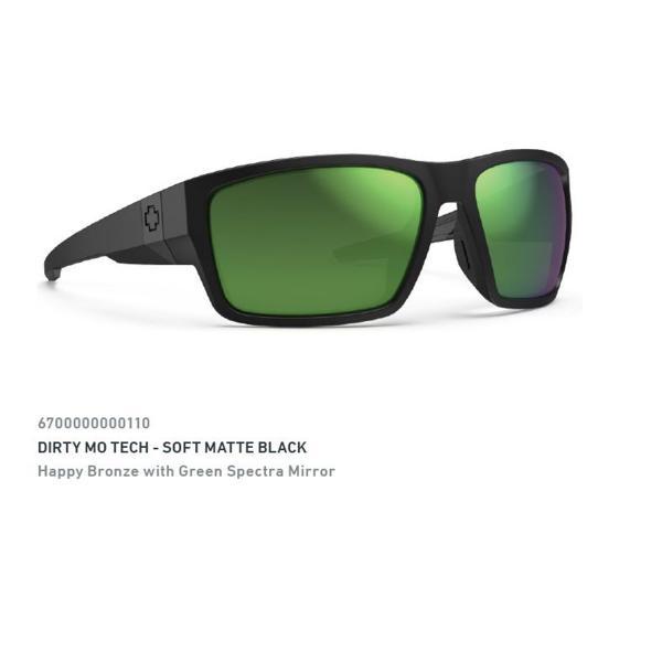SPY Glasses DIRTY MO TECH Sft Mte Blk - Hpy Brz Grn Mirr