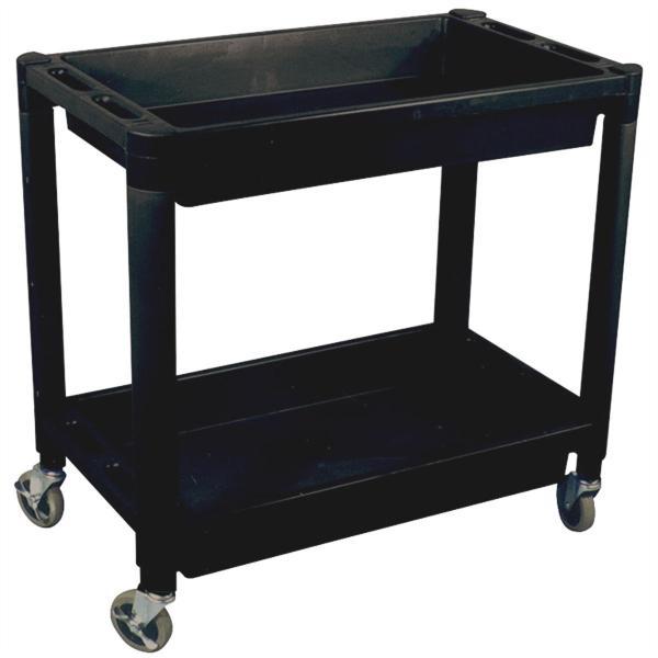 Heavy Duty Plastic 2 Shelf Utility Cart - Black Color