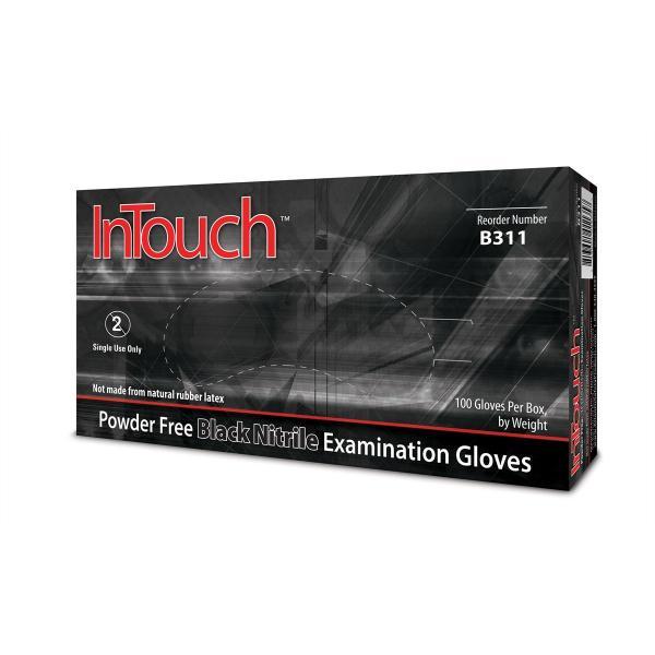 medium Intouch black nitrile glove Powder Free Exam 6MIL