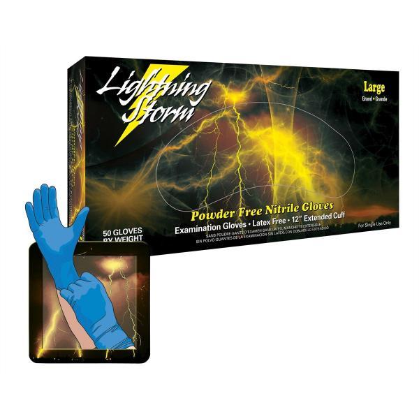 Lightning Storm 12 Inch Powder Free Blue Nitrile Gloves 9 mil Me