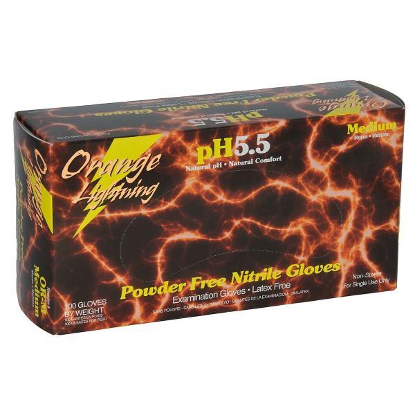 Orange Lightning Powder Free Nitrile Gloves 100/Box Medium