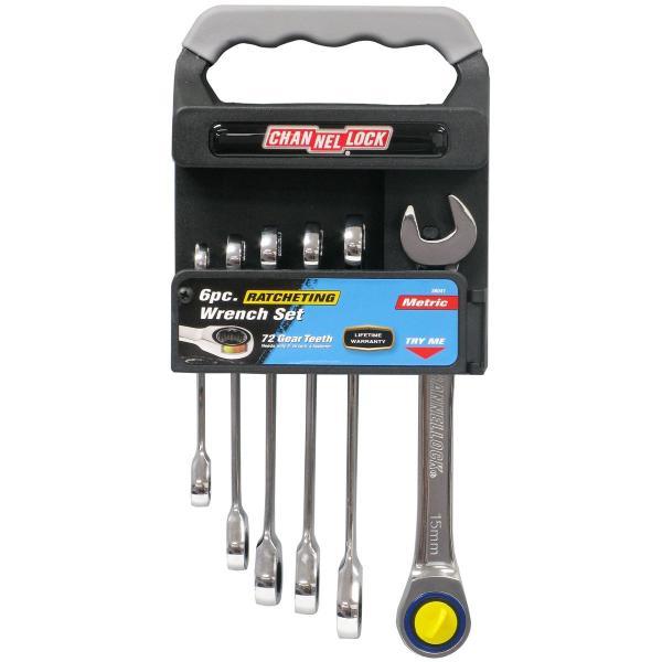 6 PC. Metric Ratcheting Wrench Set w/ Storage Rack