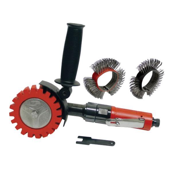 Autobrade Red Dynazip Wire Wheel, Zip Eraser Air Tool Kit, Pneum