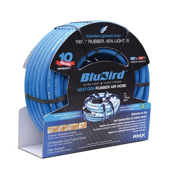 Automotive Air Hose BluBird 3/8 x 25' Heavy Duty 100% Rubber Air Hose 10 Yr Warranty
